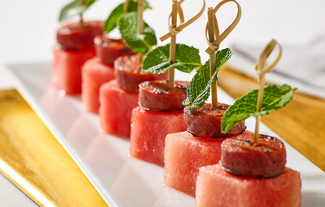 Morrisons recipes chorizo and watermelon canap s for Chorizo canape ideas