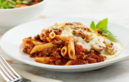Penne Bolognese Pie with Cheese and Mushroom Crust