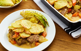 Lamb Hotpot with Roast Savoy Wedges