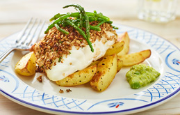 Roast Cod Loin with Balsamic Crumb and New Potato Wedges