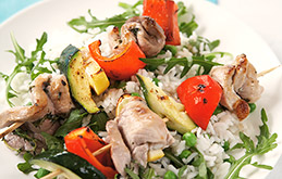 Pork and Pepper Kebabs with Rice and Broad Beans