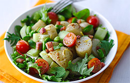 Warm Salad of Jersey Royals, Crispy Pancetta and Broad Beans