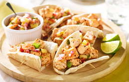 Fish Pittas with Peach Salsa