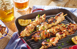 Beer and Honey BBQ Chicken Skewers