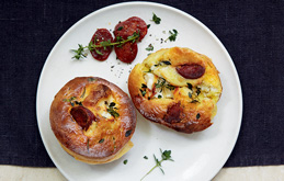 Crispy Chorizo, Goat's Cheese and Thyme Yorkshire Puddings
