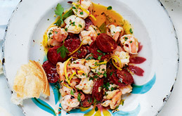 Prawns with Chorizo, Chilli and Lemon