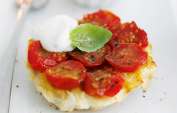 Little Cherry Tomato Tarte Tatins with Basil Cream
