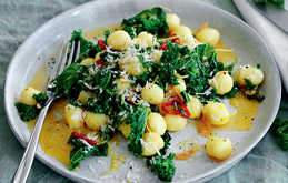 Gnocchi with Kale, Lemon and Garlic Oil