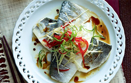 Chilli and Ginger Steamed Sea Bass