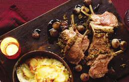 Rosemary-Crusted Rack of Lamb with Sticky Shallots