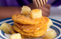 Sweet Potato Pancakes with Spiced Honey and Pineapple