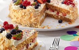 Birthday Cake with Cream and Fruit
