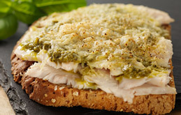 Chicken and Pesto Open Toastie