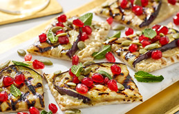 Flatbread with Houmous, Aubergine and Pomegranate