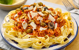 Tagliatelle Bolognese with Olives and Capers
