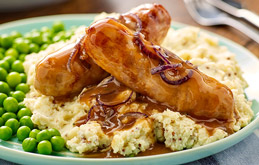 Sausage and Mustard Mash with Red Onion Gravy