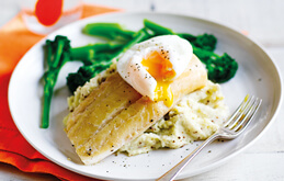 Smoked Haddock with Poached Eggs and Mustard Mash