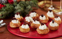 Whipped Goats Cheese and Caramelised Onion Choux Canapés