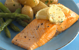 Pan Fried Salmon Fillets with Lemon, Herb and Garlic Butter