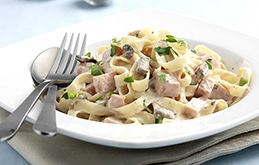 Ham, Mushroom and Garlic Tagliatelle