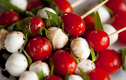 Tomato, Basil and Mozzarella Skewers