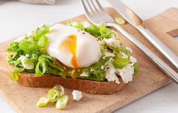 Poached Eggs with Avocado and Feta on Toast