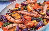 Maple-glazed Sausages with Smoked Aubergines and Tomatoes