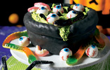 Eyeball Cauldron Halloween Cake