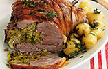 Roasted Leg of Lamb Stuffed with Leeks and Tarragon