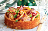 Stilton Cheesecake with Glazed Vegetables