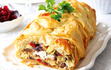 Vegetable Strudel with Spiced Cranberry and Orange Sauce