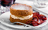 Brown Butter and Cinnamon Cakes with Port Poached Fruit