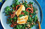 Kale with Lentils and Grilled Halloumi