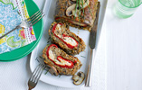 Mushroom, Red Pepper and Blue Cheese Roulade