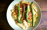 Wonky Asparagus with Halloumi and Cous Cous