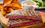Ribeye Steak with Sweet Potato Chips and Five Peppercorn Sauce