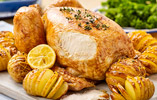 Roast Chicken with Lemon and Garlic served with Hasselback Potatoes