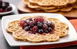Heart-Shaped Waffles with Warm Spiced Berries
