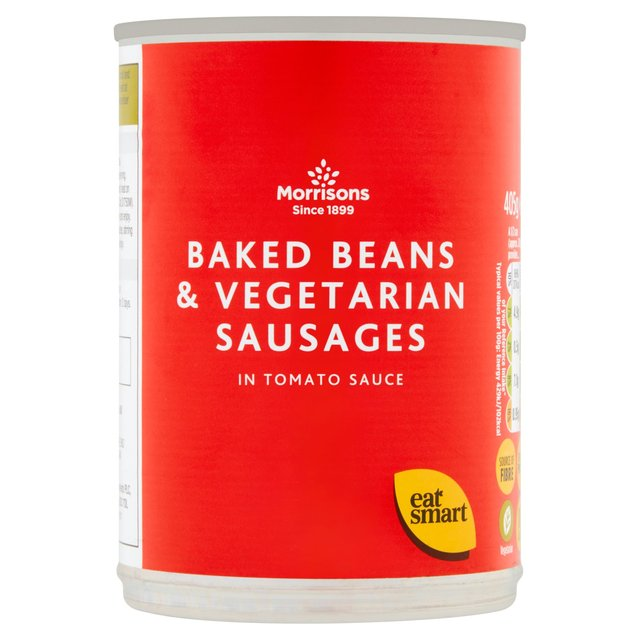 Morrisons Baked Beans & Vegetarian Sausages in Tomato Sauce