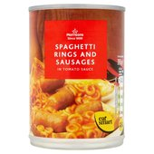 Morrisons Spaghetti Loops with Sausages in Tomato Sauce