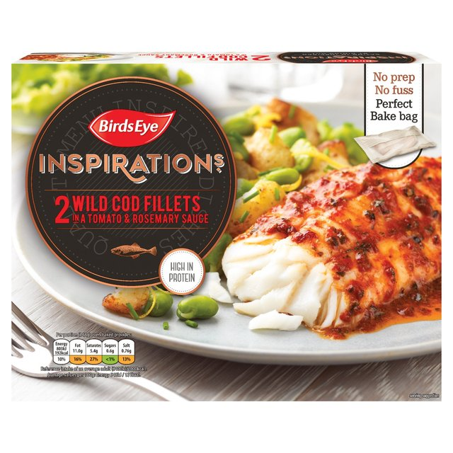 Birds Eye Inspirations 2 Cod Fillets In a Tomato & Rosemary Sauce