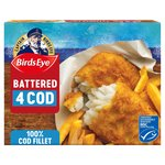 Birds Eye 4 Large Cod Fillets Battered