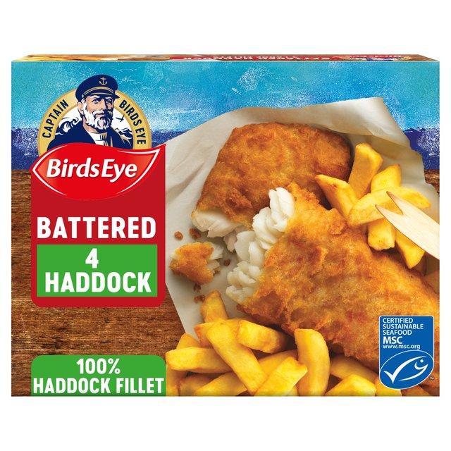 Morrisons: Birds Eye 4 Large Haddock Fillets Battered 480g ...