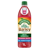 Robinsons Fruit & Barley Summer Fruits Squash No Added Sugar