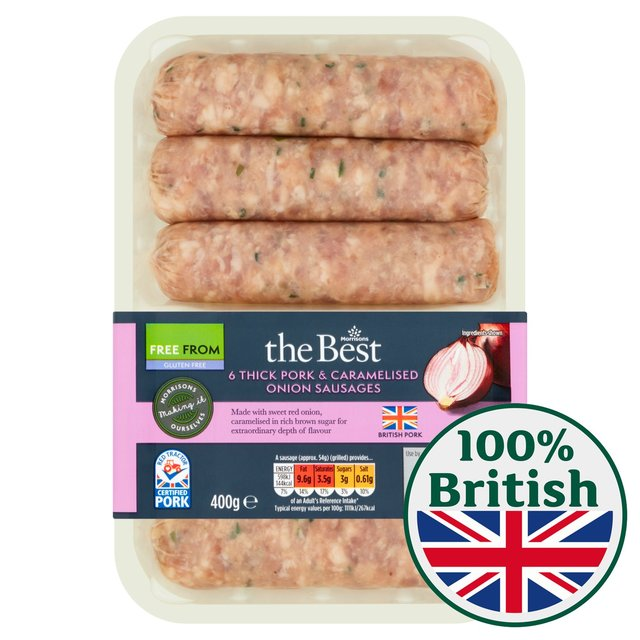 Morrisons The Best Thick Pork & Caramelised Onion Sausages