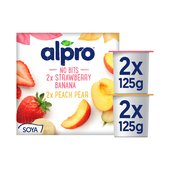 Alpro No Bits Strawberry & Banana, Peach & Pear Soya Yogurt Alternatives