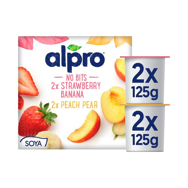Alpro No Bits Strawberry & Banana, Peach & Pear Soya Yogurt Alternatives 4 x 125g