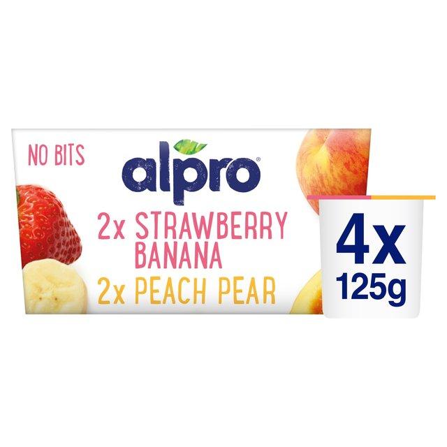 Morrisons Alpro No Bits Strawberry Banana Peach Pear
