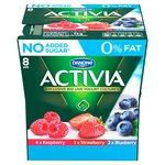 Activia 0% Fat Forest Fruits, Cherry, Blueberry & Strawberry Yogurts