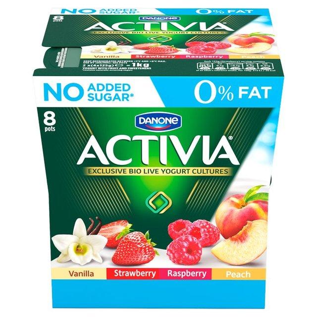 Danone Activia 0% Fat Strawberry, Raspberry, Peach & Vanilla Yogurt